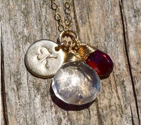 January Birthstone - Garnet - Gold filled - Brelox