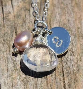 June Birthstones - Clear Quartz / Pearl - Sterling Silver - Brelox