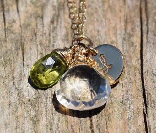 August Birthstone - Peridot - Gold filled - Brelox