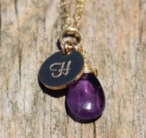 February Birthstone - Amethyst - Gold filled - Brelox