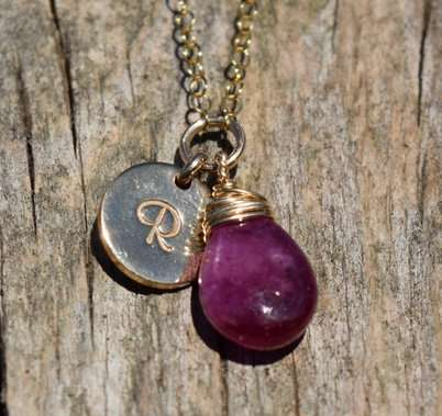 July Birthstone - Ruby - Gold filled - Brelox