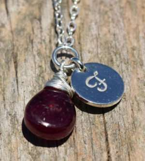 July Birthstone - Ruby - Sterling Silver - Brelox