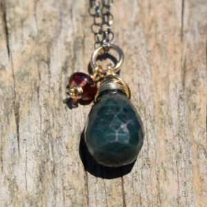 May Birthstone - Emerald - Oxidized Sterling Silver - Brelox