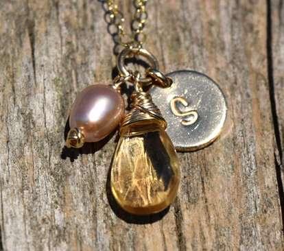 November Birthstone - Citrine- Gold filled - Brelox