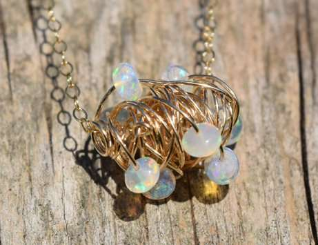 October Birthstone - Opal - Gold filled - Brelox