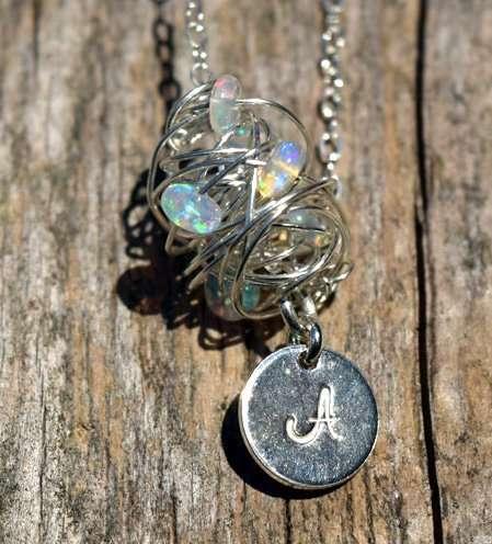October Birthstone - Opal- Sterling Silver - Brelox